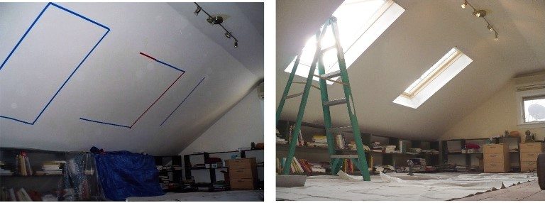 Attic room with two skylights