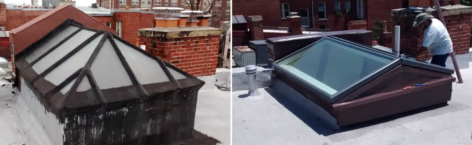 Old galvanized and wireglass skylight replaced with two new Velux FCM glass skylights.