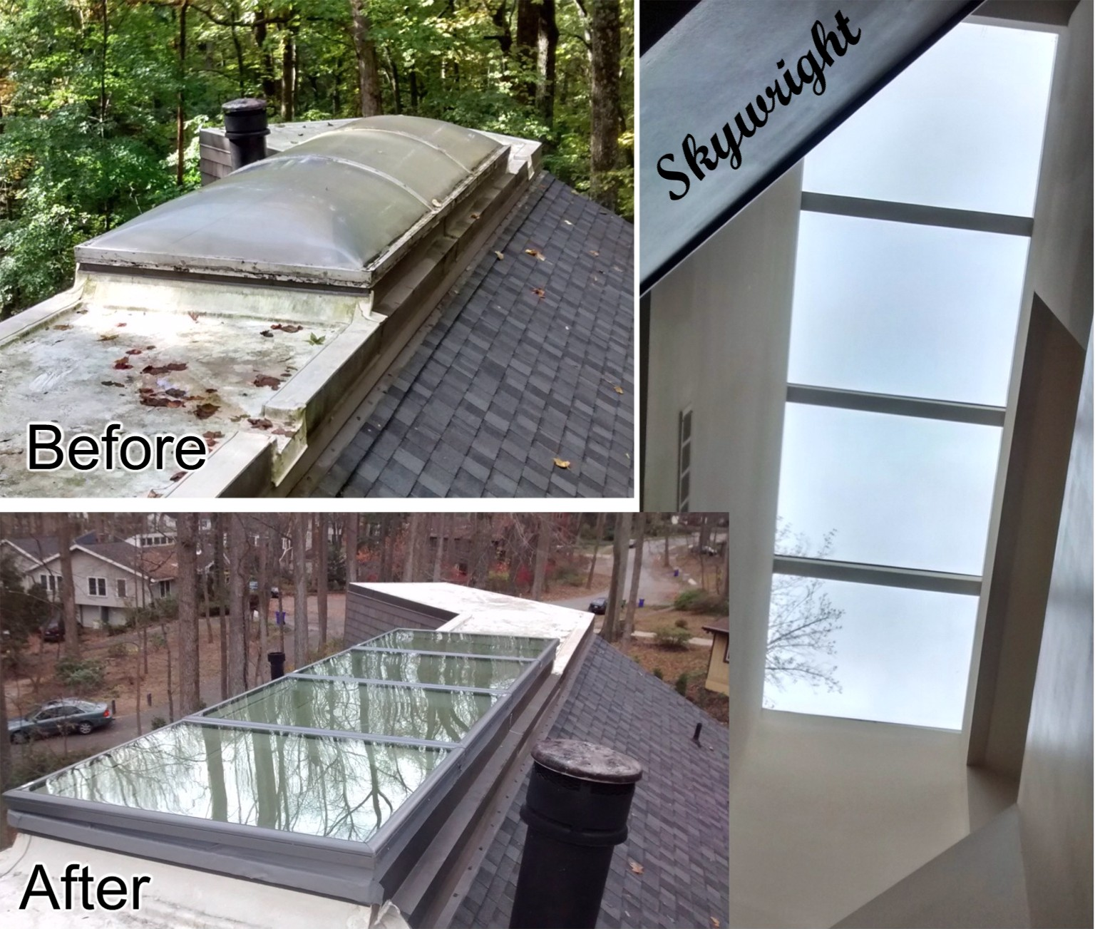 Large bubble skylight replaced with 4 Velux FCM skylights