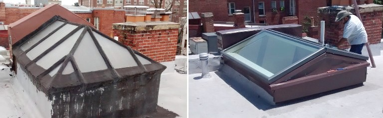 Before and After peaked skylight replacement