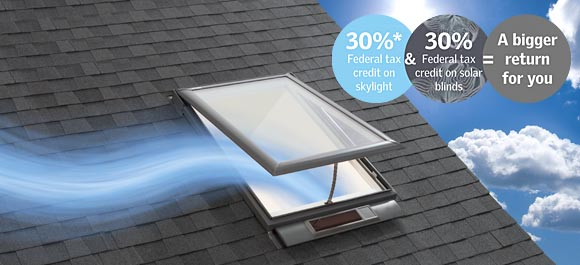 Solar powered venting skylights from Velux